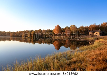 autumn landscape of the lake at morning - stock photo