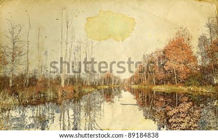 autumn landscape on grunge background - stock photo