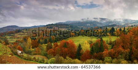 autumn landscape panorama - stock photo