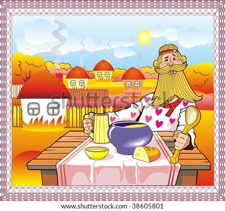 Autumn landscape, people dining - stock photo