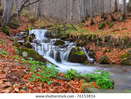 Autumn landscape with a river - stock photo