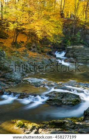Autumn Landscape with beech forest. Mountain river with cascades and waterfalls. Beauty in nature. Carpathians, Ukraine, Europe - stock photo