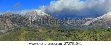 Autumn landscape with fresh snow in the Wasatch Mountains, Utah, USA. - stock photo