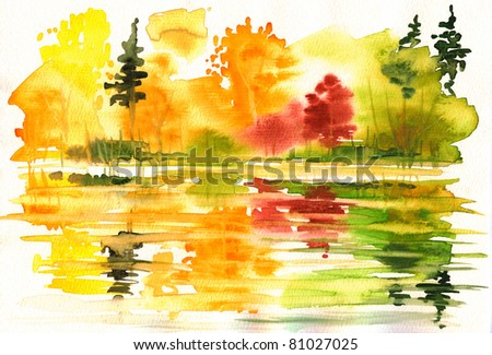 Autumn landscape with lake and forest.Picture I have painted myself with watercolors. - stock photo