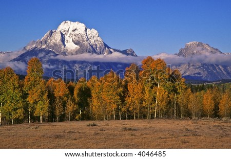 Autumn landscape with Mount Moran - stock photo