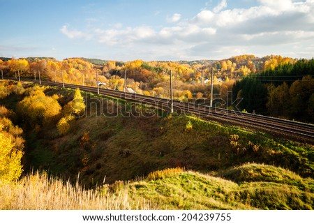 Autumn landscape with railway