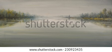 Autumn landscape with river in foggy day painted by oil on canvas. - stock photo