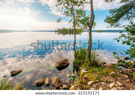 Autumn landscape with Salmon lake in Karelia, Russia - stock photo