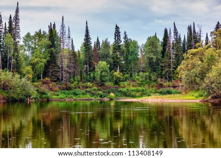 Autumn landscape with the river - stock photo