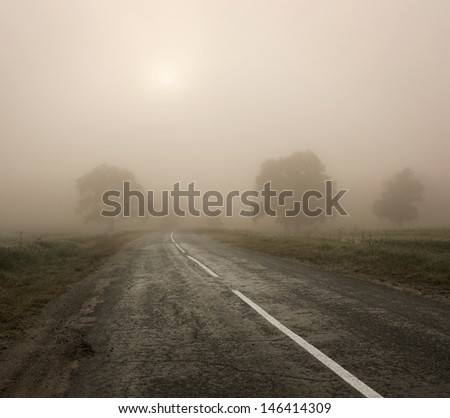 Autumn Landscape with Trees and Road in Fog - stock photo