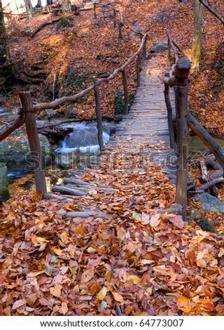 Autumn landscape with wooden bridge across brook - stock photo