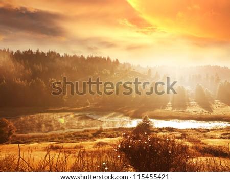 autumn landscapes - stock photo