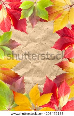 Autumn leaf frame on vintage paper - stock photo