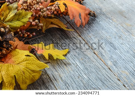 Autumn leaves and berry over wooden background for Thanksgiving
