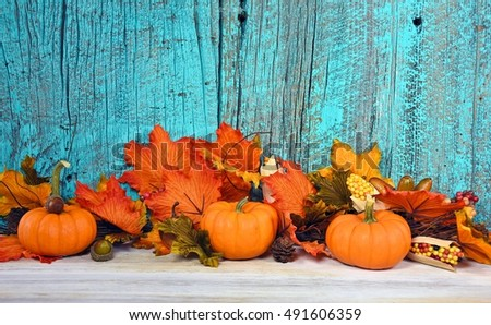 autumn leaves and pumpkins with turquoise painted rustic barn wood