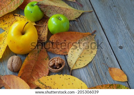 Autumn leaves, apples and walnuts. Rustic food. Homeliness. Autumn background with leaves, fruits and an old wooden table. - stock photo