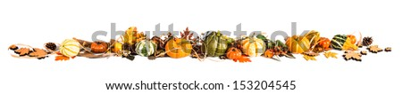 Autumn leaves, berries and pumpkins as a border, Fall background, space - stock photo