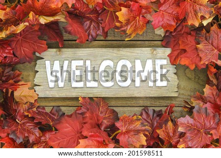 Autumn leaves border old wood welcome sign - stock photo