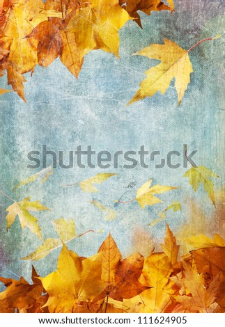 Autumn leaves falling against a blue sky background. Distressed painted canvas effect. - stock photo