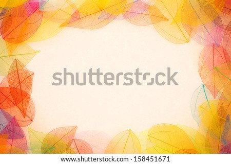 Autumn leaves frame. Abstract background - stock photo