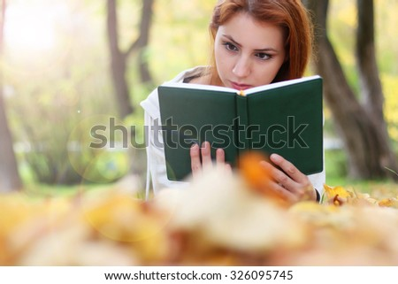 Autumn leaves girl book casual