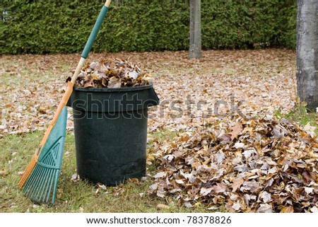 Autumn leaves in a garbage can - Horizontal - stock photo