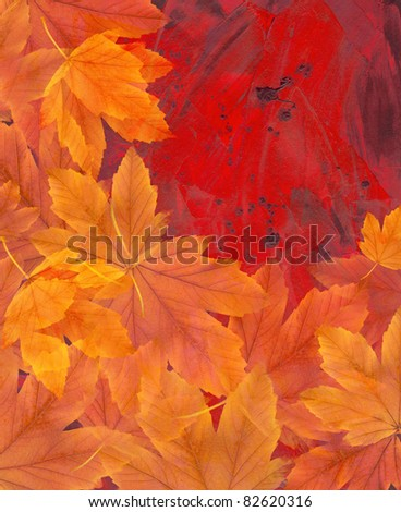 Autumn leaves on a painted background - stock photo