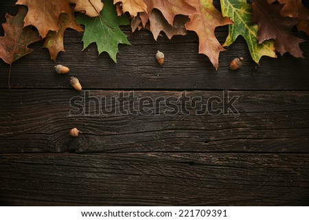 Autumn Leaves on dark wooden background. Autumn background with copy space. - stock photo