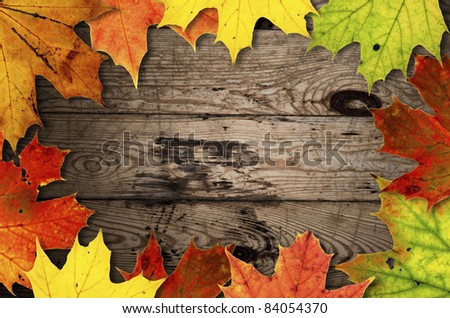 Autumn leaves over old wooden background - stock photo