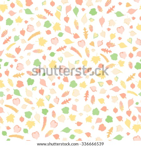 Autumn leaves. Romantic seamless floral pattern. Seamless pattern with colored autumn leaves.  Raster version - stock photo