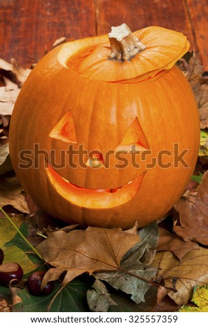 Autumn leaves with pumpkin. Halloween pumpkin - stock photo
