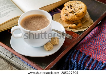 Autumn lifestyle - hot chocolate, chocolate chip cookies, old book, tray, warm blanket, rustic wood background - stock photo