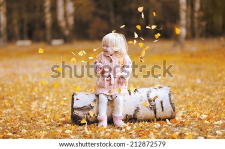 Autumn lifestyle photo child throws up the leaves and having fun, positive little girl - stock photo