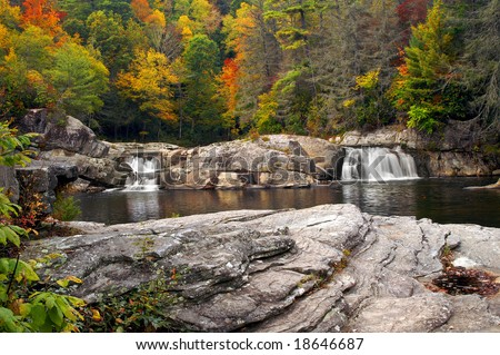 Autumn Linville Upper Falls, North Carolina Horizontal - stock photo