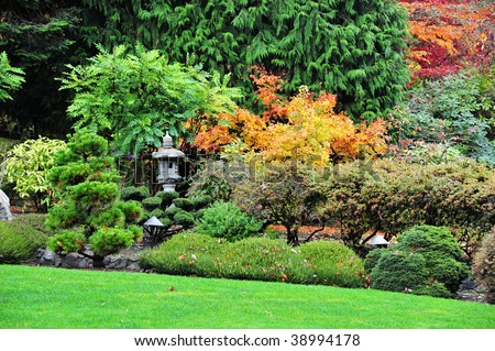 Autumn look of the beautiful landscaping in japanese garden inside the historic butchart gardens (over 100 years in bloom), victoria, british columbia, canada