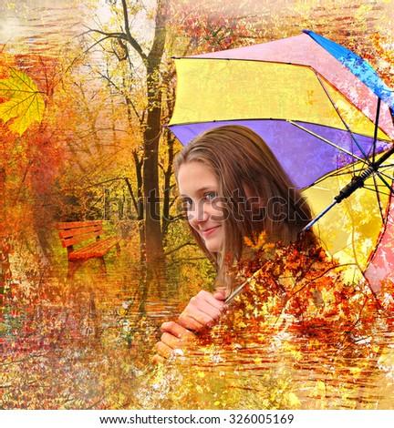 Autumn magic dreams. Autumn Girl. Autumn landscapes textured collage - stock photo