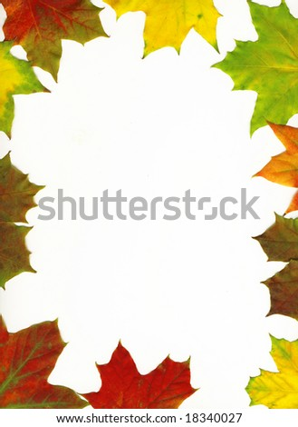 Autumn maple leaf frame background. Leaves with clipping path