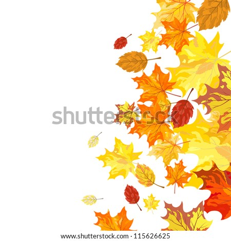 Autumn maple leaves background.Raster version. - stock photo
