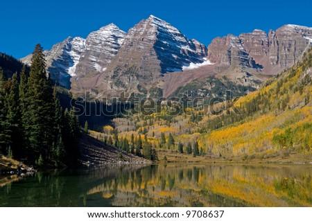 Autumn, Maroon Bells wilderness area near Aspen, Colorado, USA - stock photo