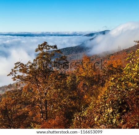 Autumn mist surrounds the blue ridge mountains in North Carolina - stock photo