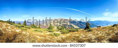 Autumn misty morning mountain panorama (Carpathian Mt's, Ukraine). Five shots stitch image. - stock photo