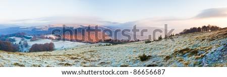Autumn misty morning mountain panorama (Carpathian , Ukraine). Three shots stitch image. - stock photo