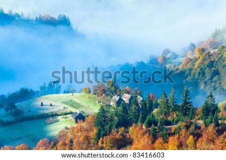 Autumn misty morning mountainside (Carpathian Mt's, Ukraine). - stock photo