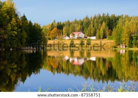 Autumn mood at lake. Finland - stock photo
