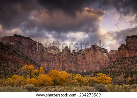 Autumn Morning at the Towers of the Virgin - stock photo