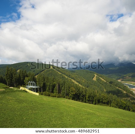autumn morning in the mountains. Carpathian, Ukraine, Europe.