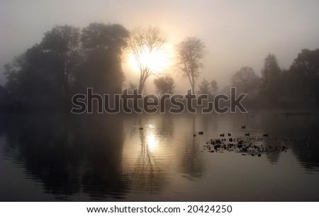 autumn morning mirror - stock photo