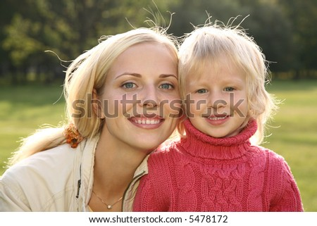 autumn mother with girl
