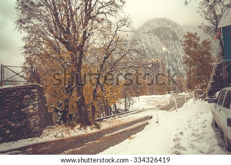 Autumn mountain landscape, beautiful view of the forest and meadow. Caucasus