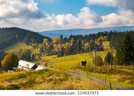 Autumn mountain landscape in Moravian-Silesian Beskydy